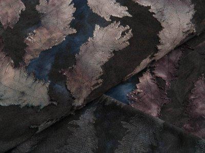 Jersey mit Ausbrenner - Federn auf Batik - anthrazit/aubergine/blau