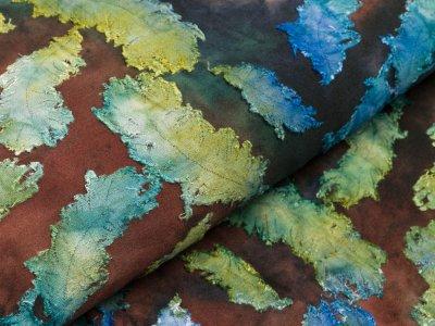 Jersey mit Ausbrenner - Federn auf Batik - grün/blau/anthrazit