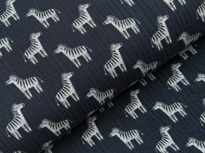 Baumwoll Musselin Double Gauze - Zebras - navy