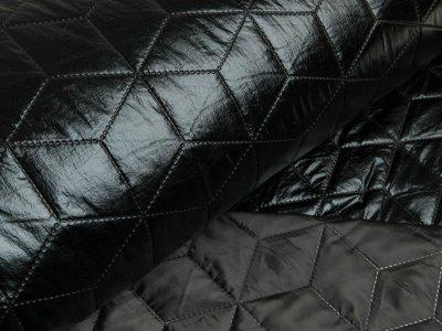 Stepper Jackenstoff - Rauten - schwarz