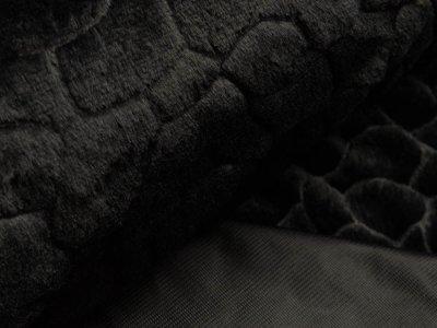 Wellnessfleece mit Prägung - Steinoptik - schwarz
