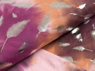 Jersey mit Foliendruck - Federn auf Batik - rosa/lila/braun