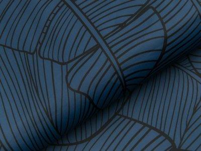 Bade- und Sportstoff - große Blätter - dunkles blau