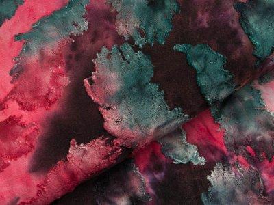 Jersey mit Ausbrenner - Federn auf Batik - rosa/pink/petrol