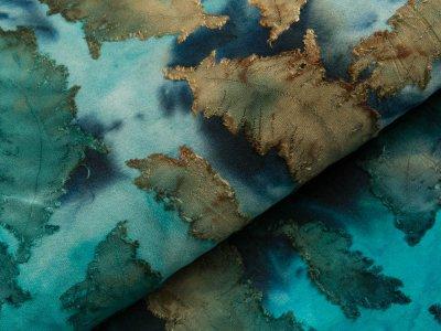 Jersey mit Ausbrenner - Federn auf Batik - aqua/blau/petrol