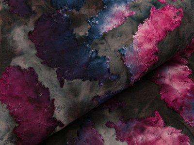 Jersey mit Ausbrenner - Federn auf Batik - anthrazit/blau/beere