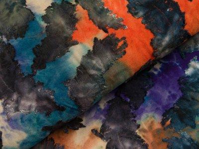 Jersey mit Ausbrenner - Federn auf Batik - blau/rost/olive