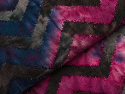 Jersey mit Ausbrenner - Zick-Zackmuster auf Batik - anthrazit/blau/beere