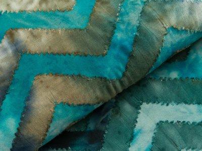 Jersey mit Ausbrenner - Zick-Zackmuster auf Batik - aqua/blau/petrol