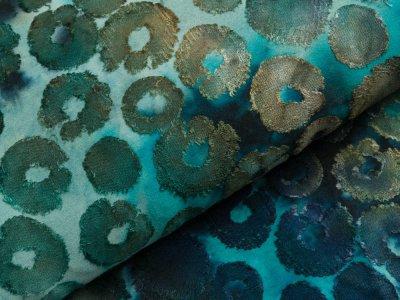 Jersey mit Ausbrenner - Kreise auf Batik - aqua/blau/petrol