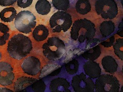 Jersey mit Ausbrenner - Kreise auf Batik - blau/rost/olive