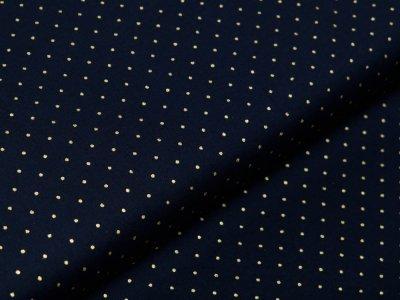 Webware Baumwolle Popeline mit Foliendruck - goldene mini Punkte - marine