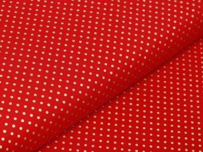 Webware Baumwolle Popeline mit Foliendruck - goldene mini Punkte - rot
