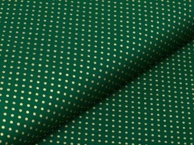 Webware Baumwolle Popeline mit Foliendruck - goldene mini  Punkte - tannengrün