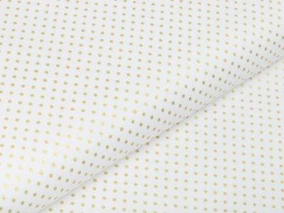 Webware Baumwolle Popeline mit Foliendruck - goldene mini Punkte - wollweiß