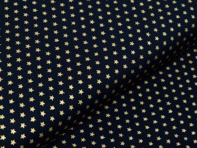 Webware Baumwolle Popeline mit Foliendruck - blitzende mini Sterne - marine
