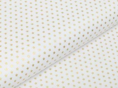 Webware Baumwolle Popeline mit Foliendruck - blitzende mini Sterne - wollweiß