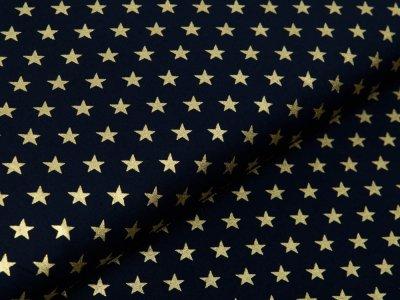Webware Baumwolle Popeline mit Foliendruck - goldene blitzende Sterne - marine