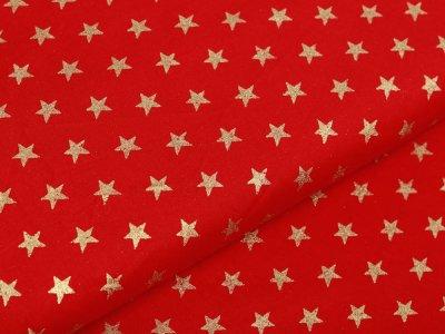 Webware Baumwolle Popeline mit Foliendruck - goldene blitzende Sterne - rot