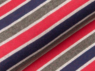 Jacquard Baumwolle - Streifen - grau/rot/blau