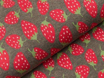 Jacquard Baumwolle - Erdbeeren - meliert grau/rot