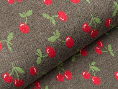 Jacquard Baumwolle - Kirschen - meliert grau/rot