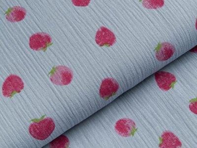 Baumwoll Musselin Double Gauze - Erdbeeren - blau