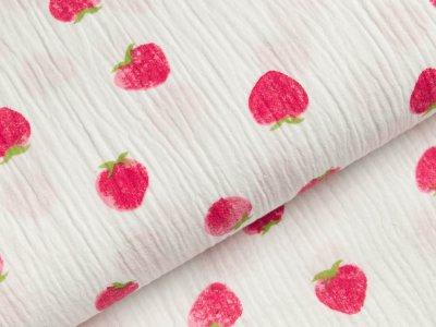 Baumwoll Musselin Double Gauze - Erdbeeren - weiß