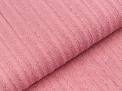 Baumwolle Twill - aufgestickte Muster-Streifen - rosa