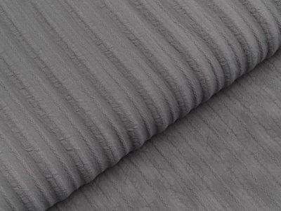 Baumwolle Twill - aufgestickte Muster-Streifen - grau