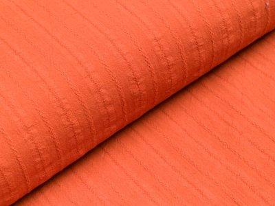 Baumwolle Twill - aufgestickte Muster-Streifen - rost