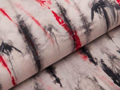 Viskose-Jersey - Batik - grau/rot