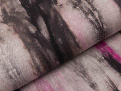 Viskose-Jersey - Batik - grau/rosa