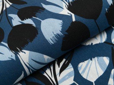 Gewebter Halbleinenstoff - Blumen - jeansblau