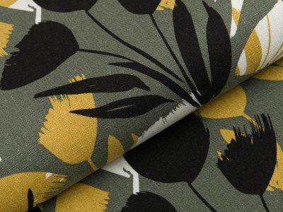 Gewebter Halbleinenstoff - Blumen - khaki