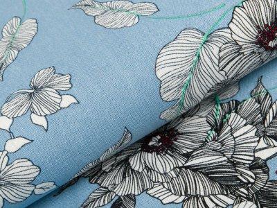 Gewebter Halbleinenstoff - Blumen und Blätter - blau