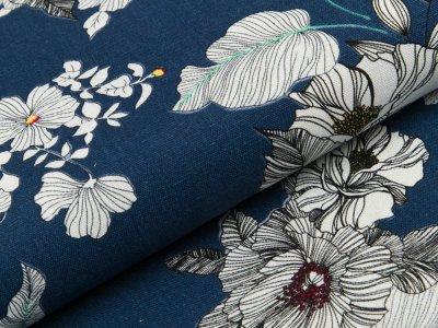 Gewebter Halbleinenstoff - Blumen und Blätter - dunkles jeansblau