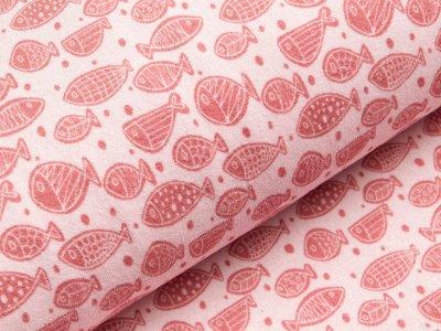 Elastischer Frottee - Fische - rosa