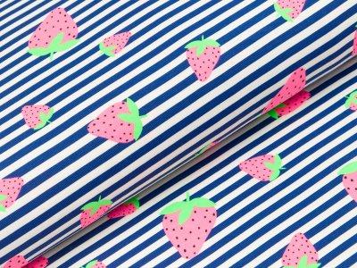 Jersey - Erdbeeren auf schmalen Streifen - weiß/blau
