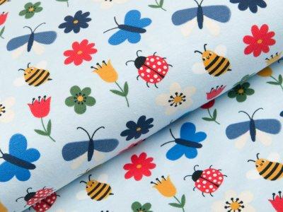 Jersey - Marienkäfer und Schmetterlinge - pastellblau