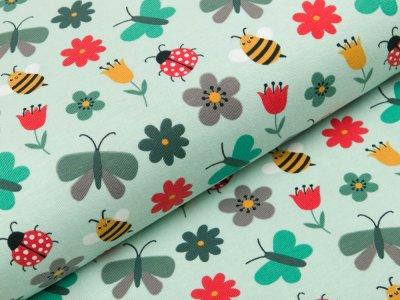 Jersey - Marienkäfer und Schmetterlinge - pastellmint