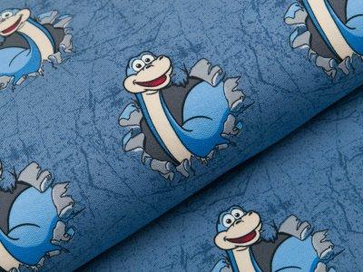 Sweat French Terry - lustige Dinos - schraffiert jeansblau