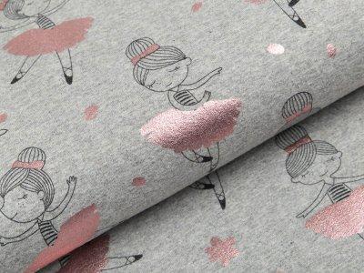 Jersey mit Foliendruck - kleine Ballarinas - meliert grau