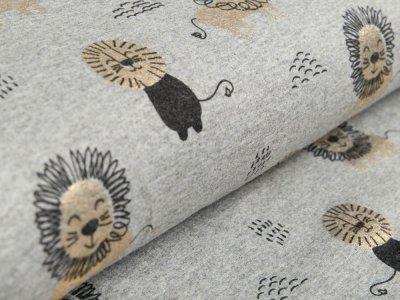 Jersey mit Foliendruck - verschiedene Löwen - meliert grau