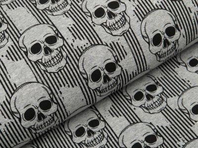 Sweat French Terry - Skulls auf Streifen - meliert grau