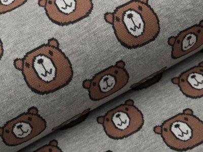 Jacquard Baumwolle - Bären - meliert grau