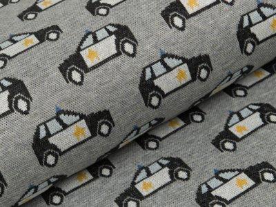 Jacquard Baumwolle - Polizeiautos - meliert grau