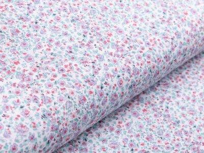 Jersey - kleine Streublumen - weiß/rosa