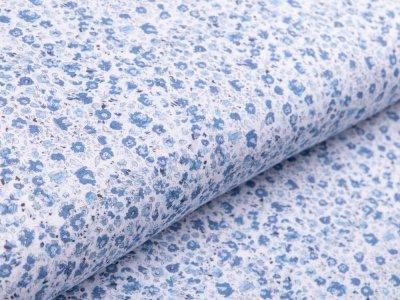 Jersey - kleine Streublumen - weiß/blau