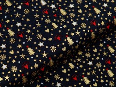 Webware Baumwolle Popeline mit Foliendruck - Weihnachtliche Ornamente - marine